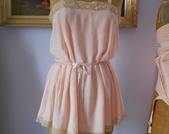 Beautiful 1920's Peach Silk Teddy/Flapper/Lingerie