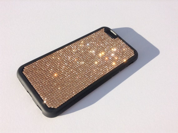 """iPhone 6 / 6s 4.7"""" Rose Gold Diamond Crystals on Black Rubber Case. Velvet/Silk Pouch Bag Included, Genuine Rangsee Crystal Cases"""