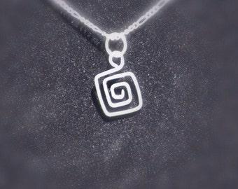 Square Spiral Necklace-Silver Design Jewelry