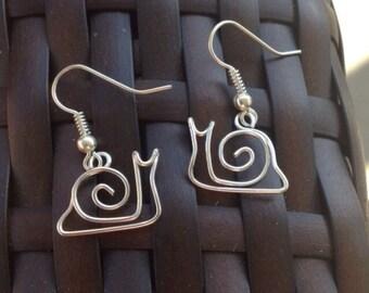 Snail Earrings-925 Sterling Silver-Silver Plated-Nickel Free Garden Snail