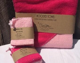 Hooded Bath Towel & Washcloth Set