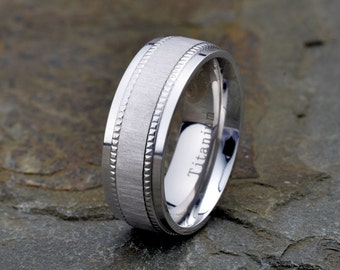 titanium band polished milgrain edge satin finish on the center of the ring 8mm