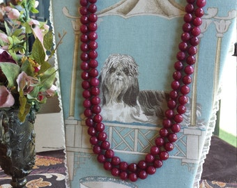 Two strand faceted burgundy jade necklsce