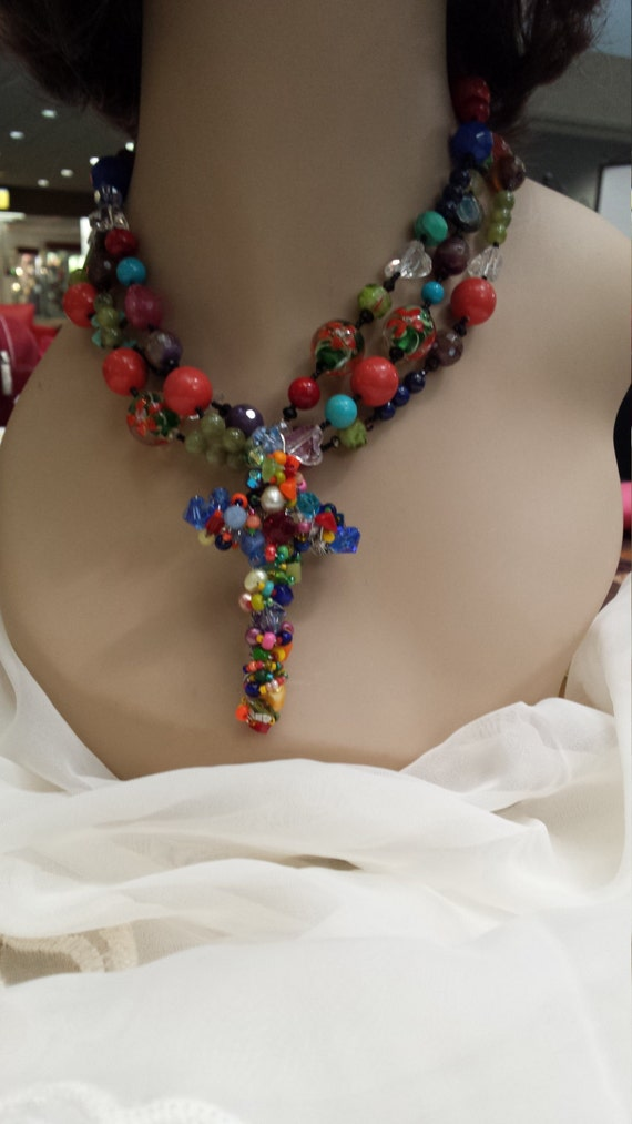 three strand beaded necklace designed by petronella designs