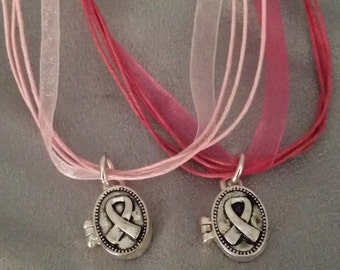 Breast Cancer Ribbon Prayer Box Necklace