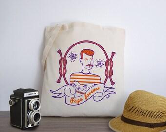 Papa Forever (Tote-Bag motif tatouage rétro et vintage orange et bleu) - illustré par l'atelier vudo ateliervudo