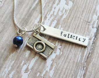 Camera Necklace, Camera Charm, Photographer, Personalized, Hand Stamped, Pearl, Photographer Gift, Birthday, Photography