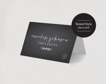 Wedding Place Card Printable Template - Meal option place card - Chalkboard Rustic Vintage - PDF Instant Download  #BPB131M