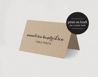 Wedding Place Card Printable Template  - Kraft Editable template - PDF Instant Download  #BPB135