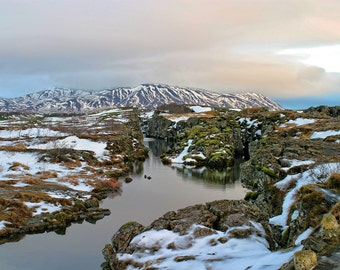 Thingvellir Iceland Winter Rift - Winter Reflections, Lake Winter Reflections, Landscape Photography, Iceland In Winter, Travel Photography