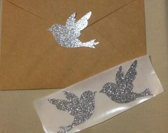 Large Silver Glitter Bird Seals - Envelope Seals Dove Seals Stickers - Wedding Event Swallow Dove Seals Love Birds