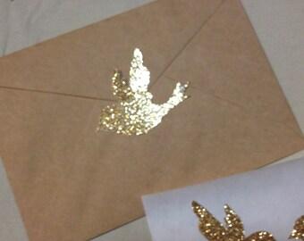 Large Gold Glitter Bird Seals - Envelope Seals Dove Seals Stickers - Wedding Event Swallow Dove Seals Love Birds