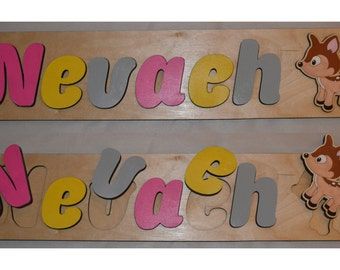 Hand Crafted Personalized Wooden Name Puzzles With A Deer & Jumbo Puzzle id241143601