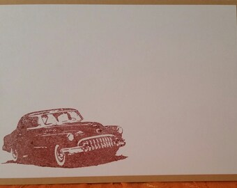 Masculine Manly Classic Car Hand Stamped Note Card Set with Envelope
