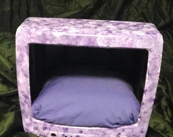 Upcycled TV Hand Painted Cat Bed- Purple