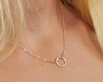 Dainty Ring Necklace, Gold Filled or Silver , Hammered Ring Necklace, Circle Necklace, Hoop Necklace, Layering Necklace