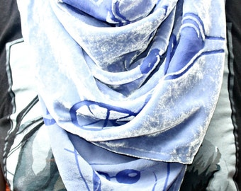 Marbella themed Devore velvet scarf in Purple Periwinkle