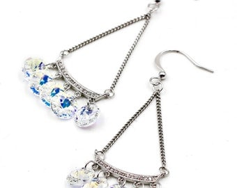 Sector silver swaroski crystal earrings
