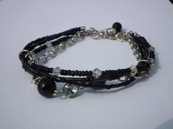 Beautiful Onyx & Swarovski bracelet