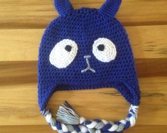 Peg plus cat, blue cat, Pbs kids, halloween hat, halloween costume, dress up hat, cat hat,