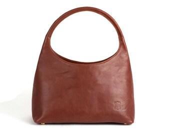 Red Leather handbag Medium size bag VIRIDIANNE Cocher