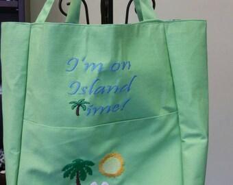 "16""x12.5"" Green Tote - ""I'm on island time"" beach scene embroidered"