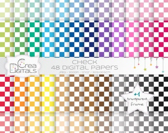 Checkerboard rainbow paper pack - 48 digital papers - INSTANT DOWNLOAD