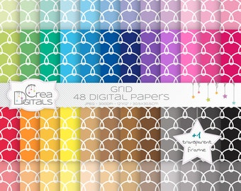 Grid rainbow paper pack - 48 digital papers - INSTANT DOWNLOAD