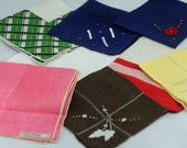 Seven CUTTER Hankies, Vintage Hankies for Crafting, Sewing, Quilting, Altered Art, Mixed Media, Collage  #442  ok