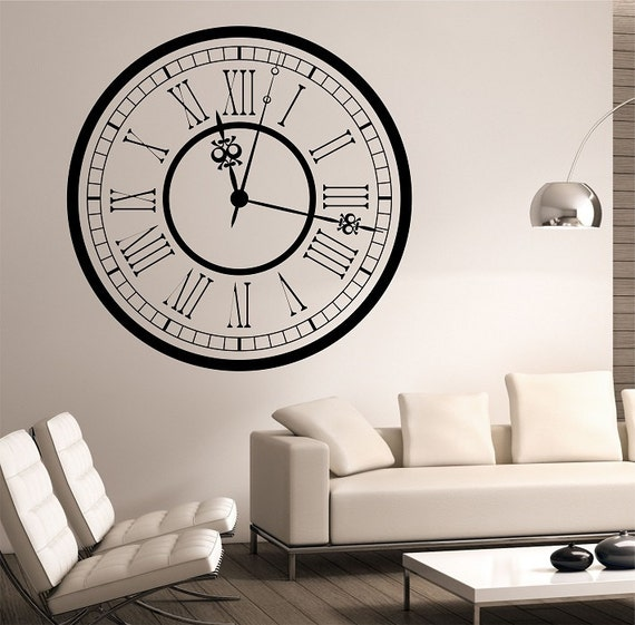 Bedroom Wall Clock Design : Clock vinyl wall decal sticker art decor bedroom design mural