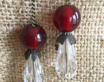 Earings~Red Crystal Ball