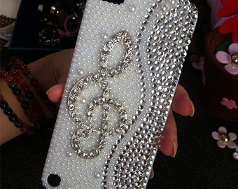 New Stylish Charms Bling Pearls Sparkles Lovely Music Symbol Crystals Rhinestones Diamonds Fashion Gems Hard Cover Case for Mobile Phones