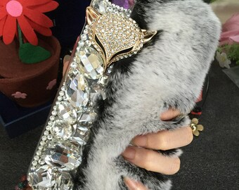 New Bling Luxury Gray Soft Fluffy Fur Furry Sparkles Fox Gems Crystals Rhinestones Diamonds Fashion Lovely Hard Cover Case for Mobile Phones