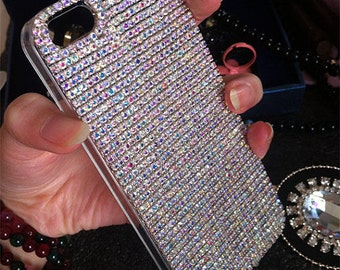New Bling Sparkly Cute AB Chic Gems Luxury Gemstones Crystals Rhinestones Diamonds Fashion Lovely Jewelry Hard Cover Case for Mobile Phones