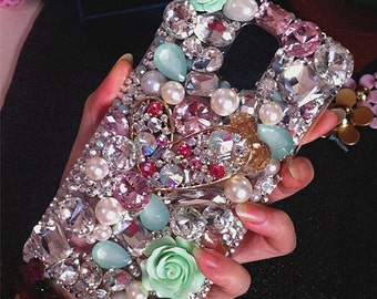 New Bling Pearls Floral Golden Heart Sparkles Mint Clear Crystals Rhinestones Diamonds Gems Fashion Lovely Hard Cover Case for Mobile Phones