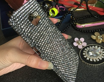New Charms Bling Punk Style Sparkly Gunmetal Black Full Gems Crystals Rhinestones Diamonds Fashion Lovely Hard Cover Case for Mobile Phones