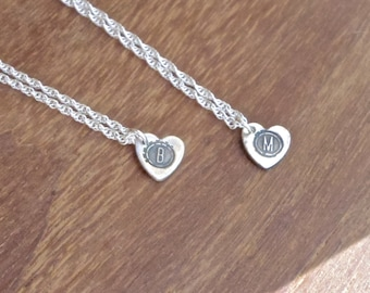 Personalised silver necklace with initial heart