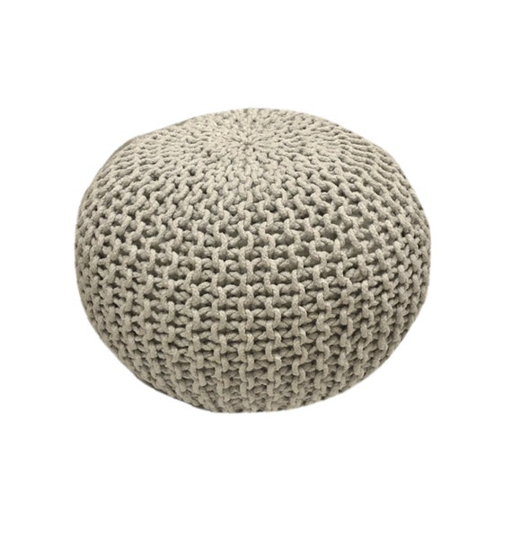 handmade knitted pouf glacier gray hand knit pouf by gfurn. Black Bedroom Furniture Sets. Home Design Ideas