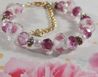 Pink beaded Rose bracelet