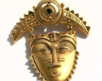 Avon Tribal Mask Brooch Pin African Aztec