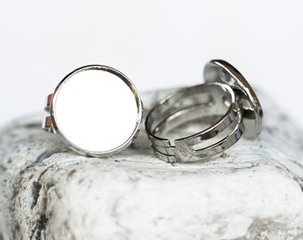 1342_Round blank rings, Adjustable size,Round tray caboshon,Silver round ring,Silver blank ring,Ring cabochon,Ring setting cameo 16 mm_6 pcs