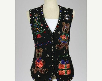 ON SALE Vtg 90s Super Shiny ALL Bead Gaudy Sequins Ugly Christmas Sweater L Wom/S Men 40