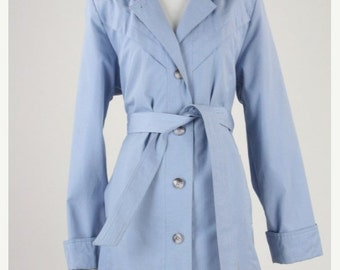 ON SALE Vintage 80s Sky Blue Womens Belted Trench Coat S/M