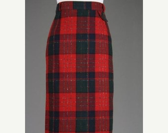 ON SALE Vintage 80s Nygard Top Designer Red Tartan Plaid Crest Wool Blend Skirt M 30