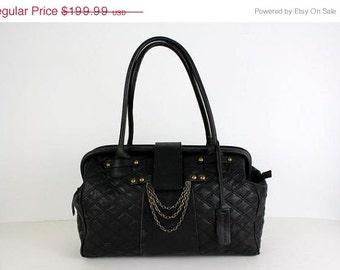ON SALE Big Aqua Madonna Quilted Leather Huge Stam Bag Purse