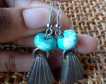 boho chic hoop earrings 1970 artisan ceramic