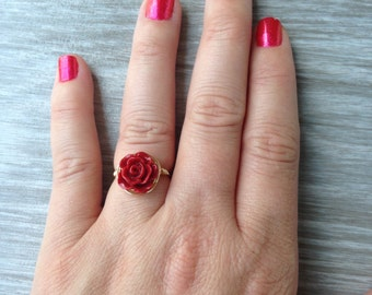 Red Rose Wire Wrapped Ring