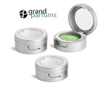 UPSCALE Silver PREMIUM 3 Gram Lip Balm Container 3ml Cosmetics Jar 3cc 3ml Hinged Lid and Clear Window for Mineral Makeup, Stash Box  Beads