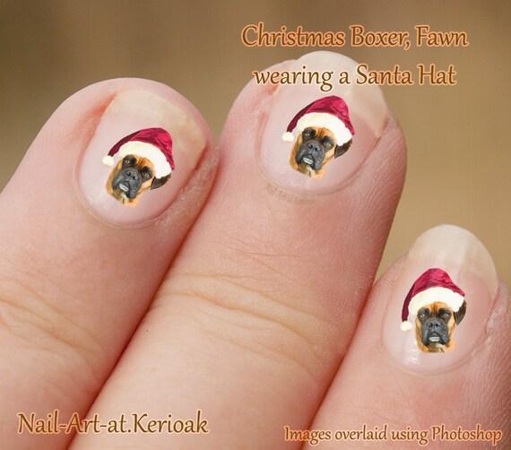 Christmas Finger Nail Art: Christmas Fawn Boxer Nail Art Stickers. Wearing Santa Hat