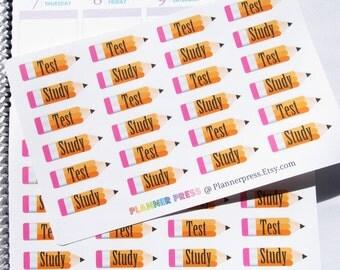Pencils Study and Test Planner Sticker fits Erin Condren Life Planner (ECLP) Reminder Sticker 1505